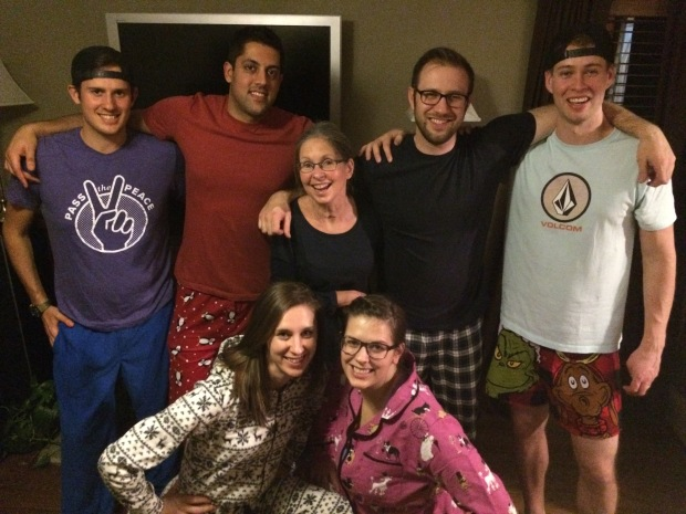 Christmas PJs. Cam, Raj, Janet, Andrew, Allan, Laurel, Heather.